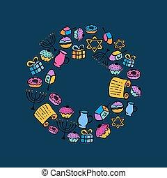 hanukkah., a, 集合, ......的, 傳統, attributes, ......的, the, 大燭台, dreidel, 蜡燭, torah, donuts, 在, a, 心不在焉地亂寫亂畫, style., 輪, 框架