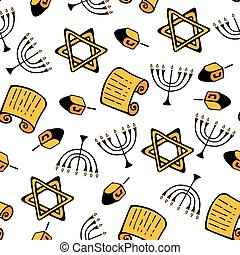 hanukkah., a, 集合, ......的, 傳統, attributes, ......的, the, 大燭台, dreidel, torah, 星, ......的, david., seamless, 圖案, 在, a, 心不在焉地亂寫亂畫