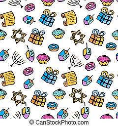 hanukkah., a, 集合, ......的, 傳統, attributes, ......的, the, 大燭台, dreidel, torah, donut, 在, a, 心不在焉地亂寫亂畫, style., seamless, pattern.