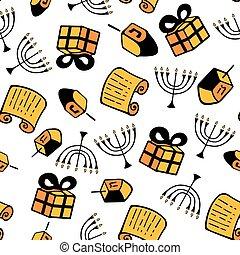 hanukkah., a, 集合, ......的, 傳統, attributes, ......的, the, 大燭台, dreidel, torah, gift., seamless, 圖案, 在, a, 心不在焉地亂寫亂畫, style.