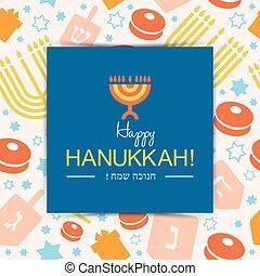 hanukkah, arrière-plan., vacances, ou, carte, heureux