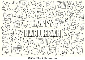 Hanukkah background from line icon. Linear vector pattern.