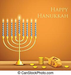 illustration of burning candle in Hanukkah Menorah with Dreidel