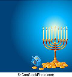 Jewish festival of Hanukkah/Chanukah Background, including Menorah, dreidls/sevivot and Hanukkah Gelt