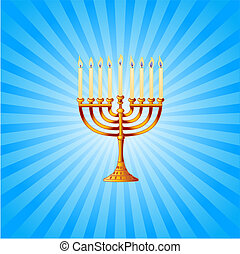 Blue and white radial background with golden Menorah