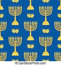 Hanukkah background with menorah. Candles, David star and jewels. Beautiful greeting card.