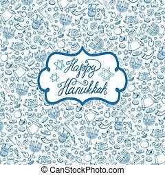 Hanukkah background,pattern.Doodle Jewish Holiday - Hanukkah...