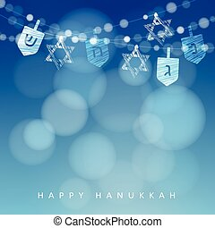Hanukkah blue background with string of lights, dreidels and jewish stars. Vector background.