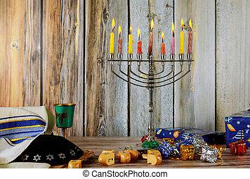 hanukkah, bougies, fetes, juif