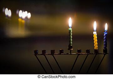 hanukkah, bougies