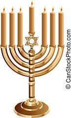 Hanukkah candleholder with 7 candles. Hanukkah candleholder...