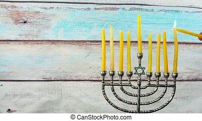 Hanukkah Candles Menora of Hanuka symbol, tradition...