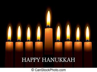 Hanukkah candles - Hanukkah nine candles with burning flames...