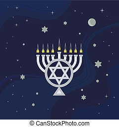 Happy Hanukkah holiday - Hanukkah candles with light in...