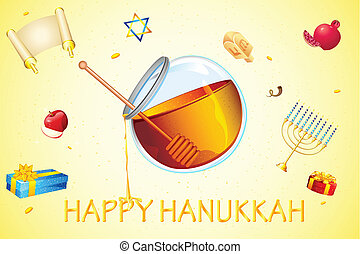 Hanukkah Card - illustration of card for hanukkah with honey...
