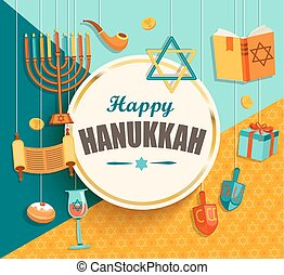 Hanukkah card with golden frame. - Hanukkah card with golden...