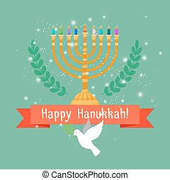 Hanukkah card with menorah and bird - Happy hanukkah square...