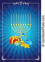 Hanukkah Celebration - illustration of menorah candle with...