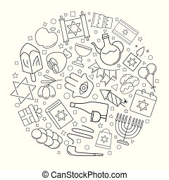 Hanukkah circle background from line icon. Linear vector pattern.