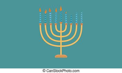 hanukkah, conception, menora, vacances, animation, plat, icône