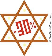 Hanukkah david star sale icon, cartoon style