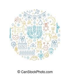 Hanukkah design elements - Vector set of Hanukkah design...