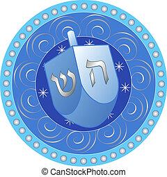 hanukkah, diseño, dreidel