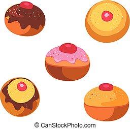Hanukkah donuts isolated on white background