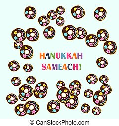 Hanukkah donuts on a blue background. Vector illustration