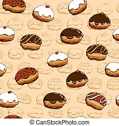 Hanukkah donuts seamless pattern - Holiday Hanukkah vector ...