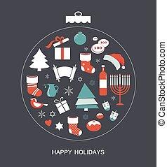 hanukkah., estacional, navidad, feliz, objetos, alegre
