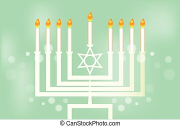 Hanukkah - festival of lights - Menorah - traditional...