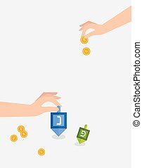 hanukkah game , hand spining dreidel and holding coins . - ...