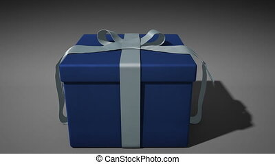 A 1080p HD Stock Video of a Hanukkah holiday Present unwraping itself and opening with volume light shooting out as the camera comes in to the box full of white light.
