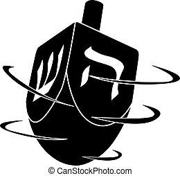 hanukkah, girar, vector, líneas, cartas, aislado, negro, ...