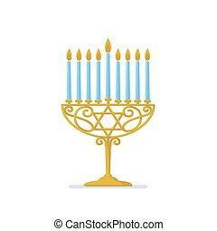 Hanukkah gold menorah. Jewish holiday. Hanukkah gold Menorah...