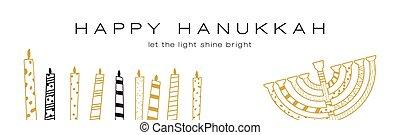 Hanukkah greeting banner , Jewish holiday symbols. golden...