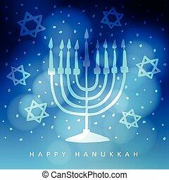 Hanukkah greeting card, invitation with hand drawn menorah,...