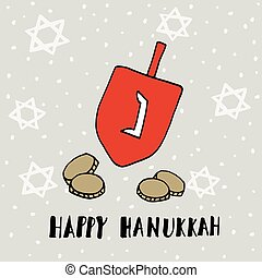 Hanukkah greeting card with hand drawn dreidle, coins and...