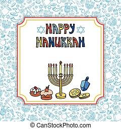 Hanukkah greeting card.Doodle Israel Holiday symbols -...
