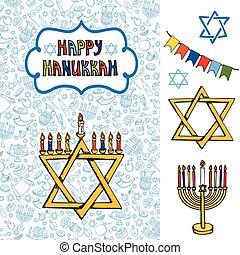 Hanukkah greeting card.Doodle Jewish Holiday symbols -...