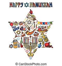 Hanukkah greeting card.Israel symbols in David Star.Doodles...