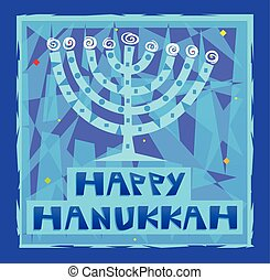 Hanukkah Greetings - Happy Hanukkah greeting card of a...