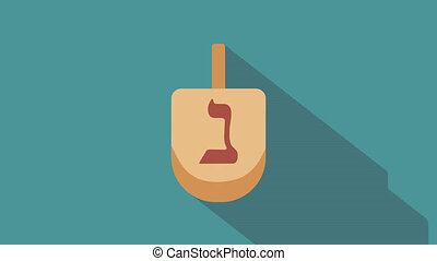 Hanukkah holiday dreidel flat design animation icon