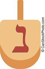 Hanukkah holiday dreidel flat design icon