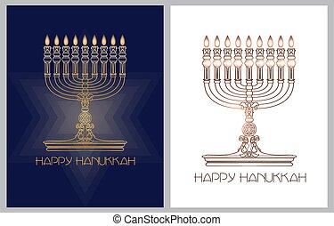 hanukkah., holiday., feliz, vector, bandera, template., judío, candles., menorah