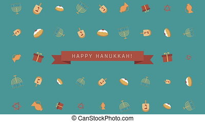 Hanukkah holiday flat design animation background with traditional symbols and english text