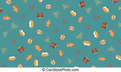 Hanukkah holiday flat design animation background with traditional symbols