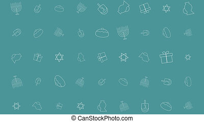 Hanukkah holiday flat design animation background with traditional symbols