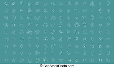 Hanukkah holiday flat design animation background with...